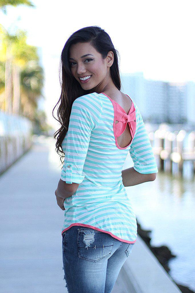 mint and pink striped top with back bow