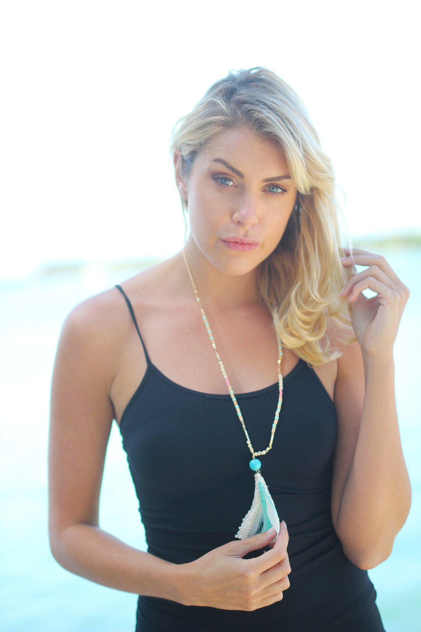Mint Wooded Tassel Necklace