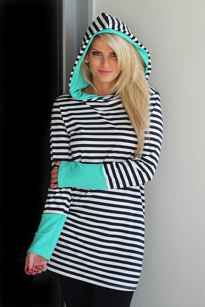 Mint and Black Striped Hooded Tunic