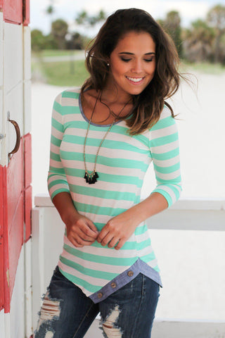 Mint and Denim Striped Top With Buttons