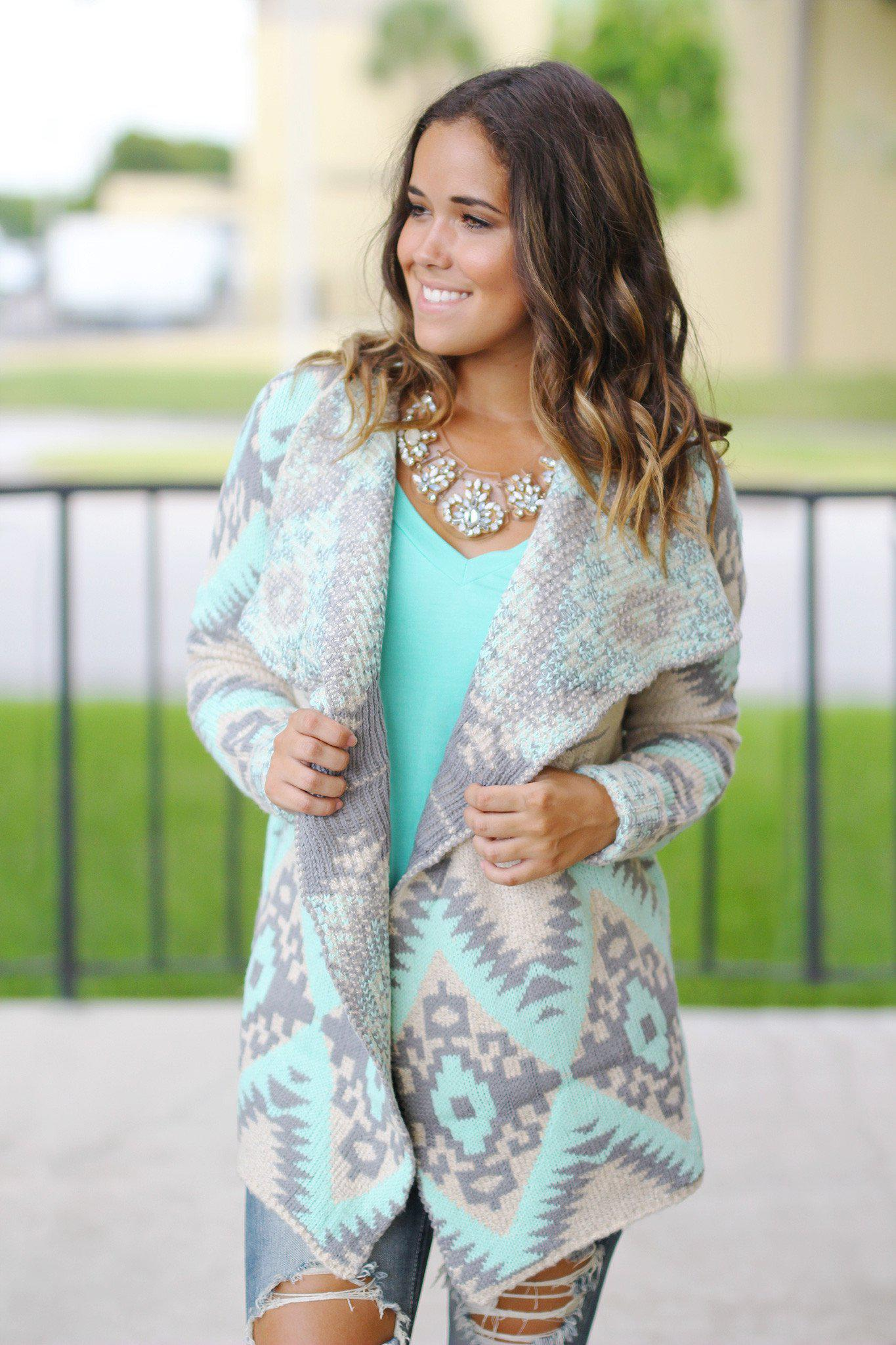mint and gray aztec cardigan