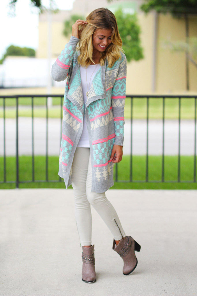 Mint And Gray Long Cardigan