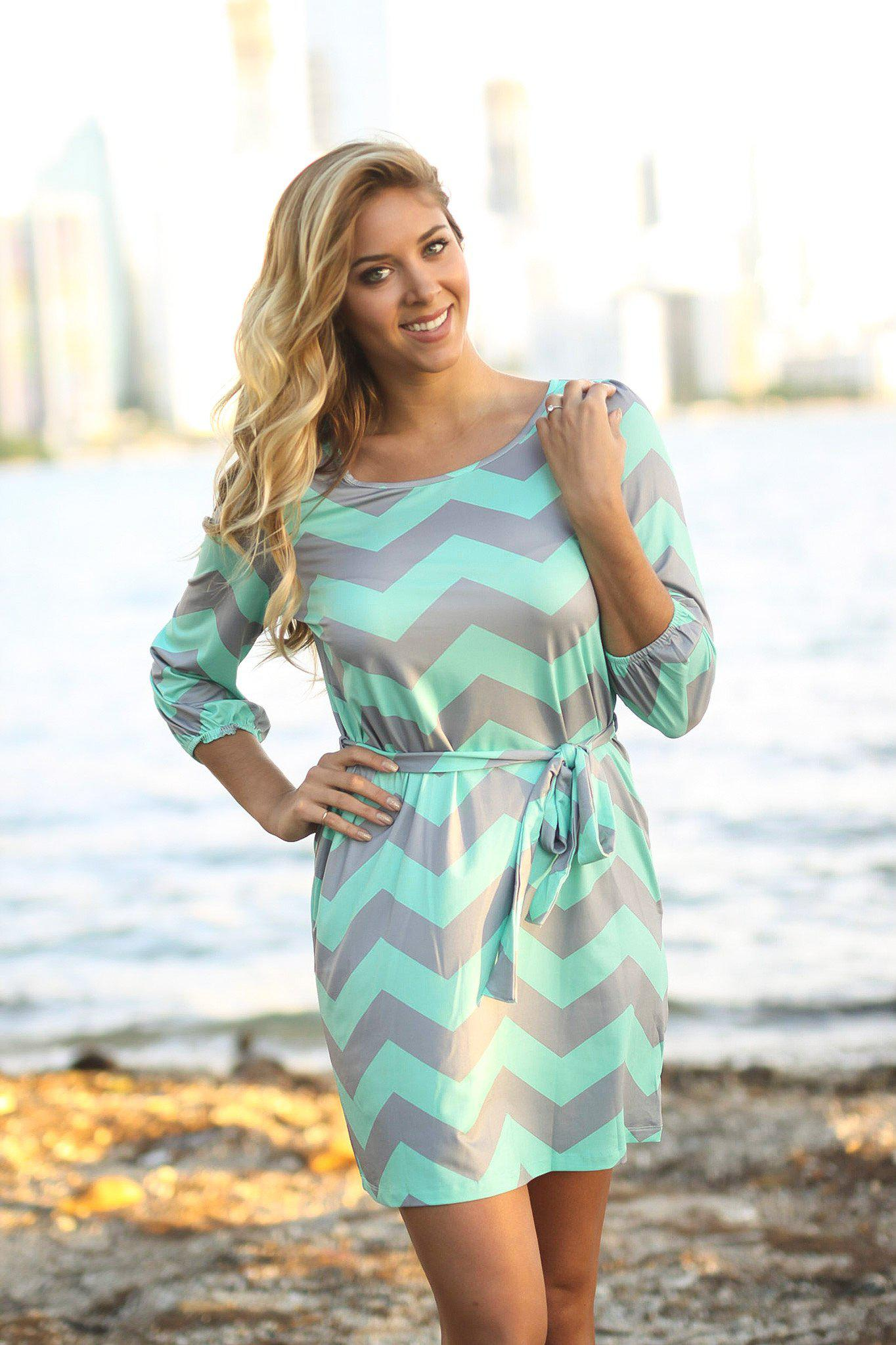Mint and Gray Chevron Dress