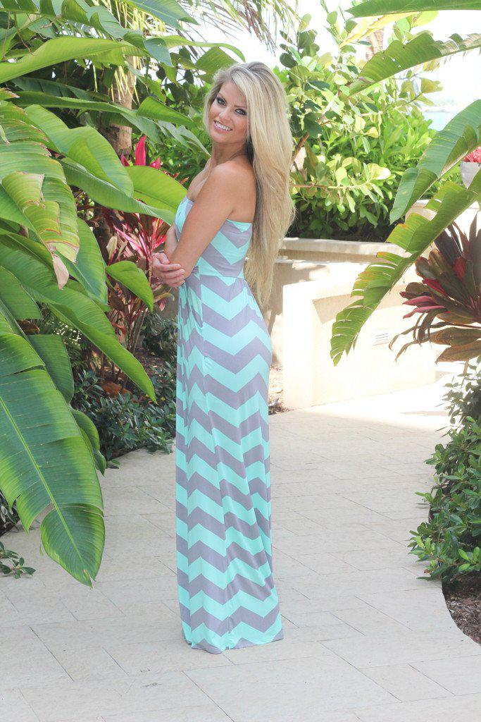 mint and gray strapless dress