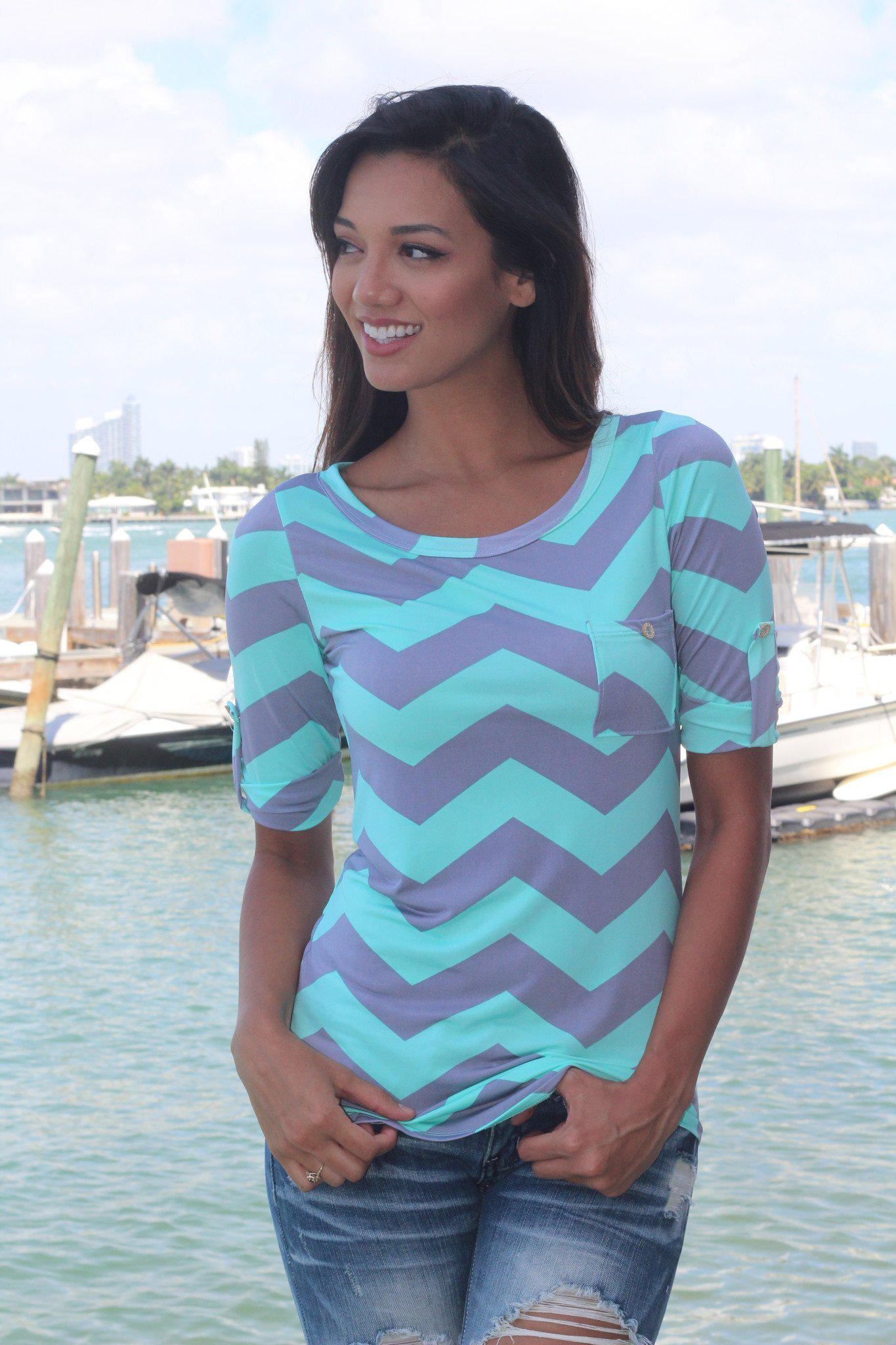 Mint and Gray Chevron Top