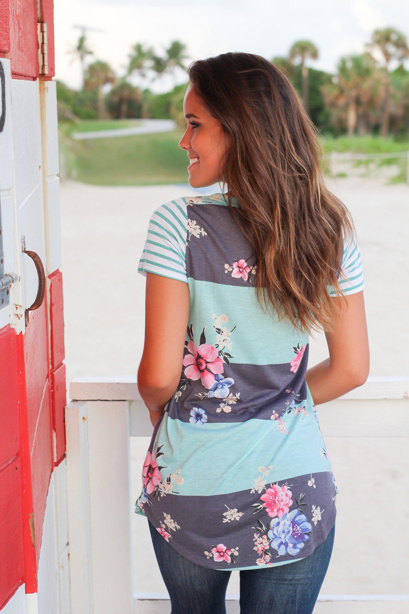 Mint and Gray Floral Top with Striped Sleeves