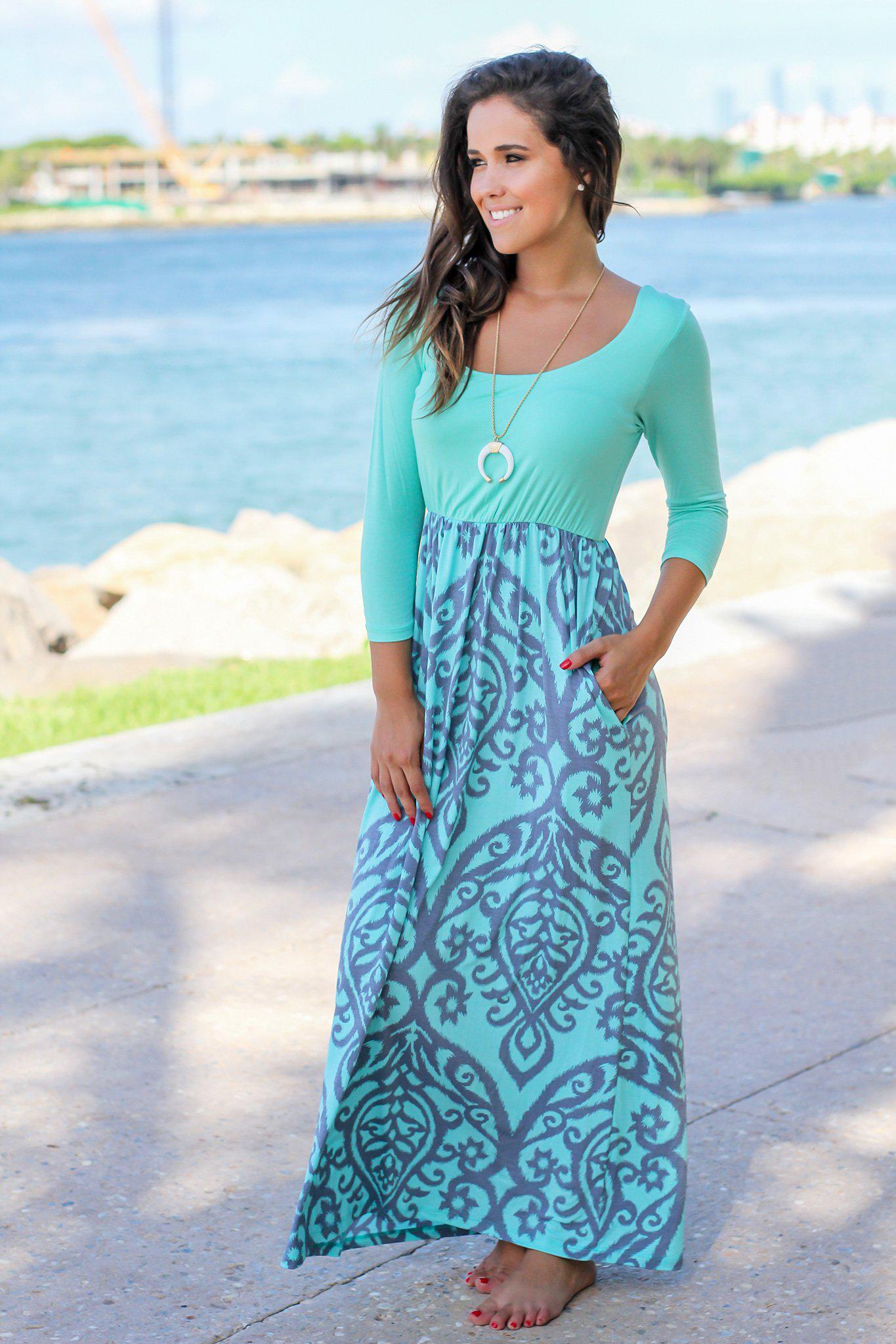 Mint and Gray Printed Maxi Dress with 3/4 Sleeves