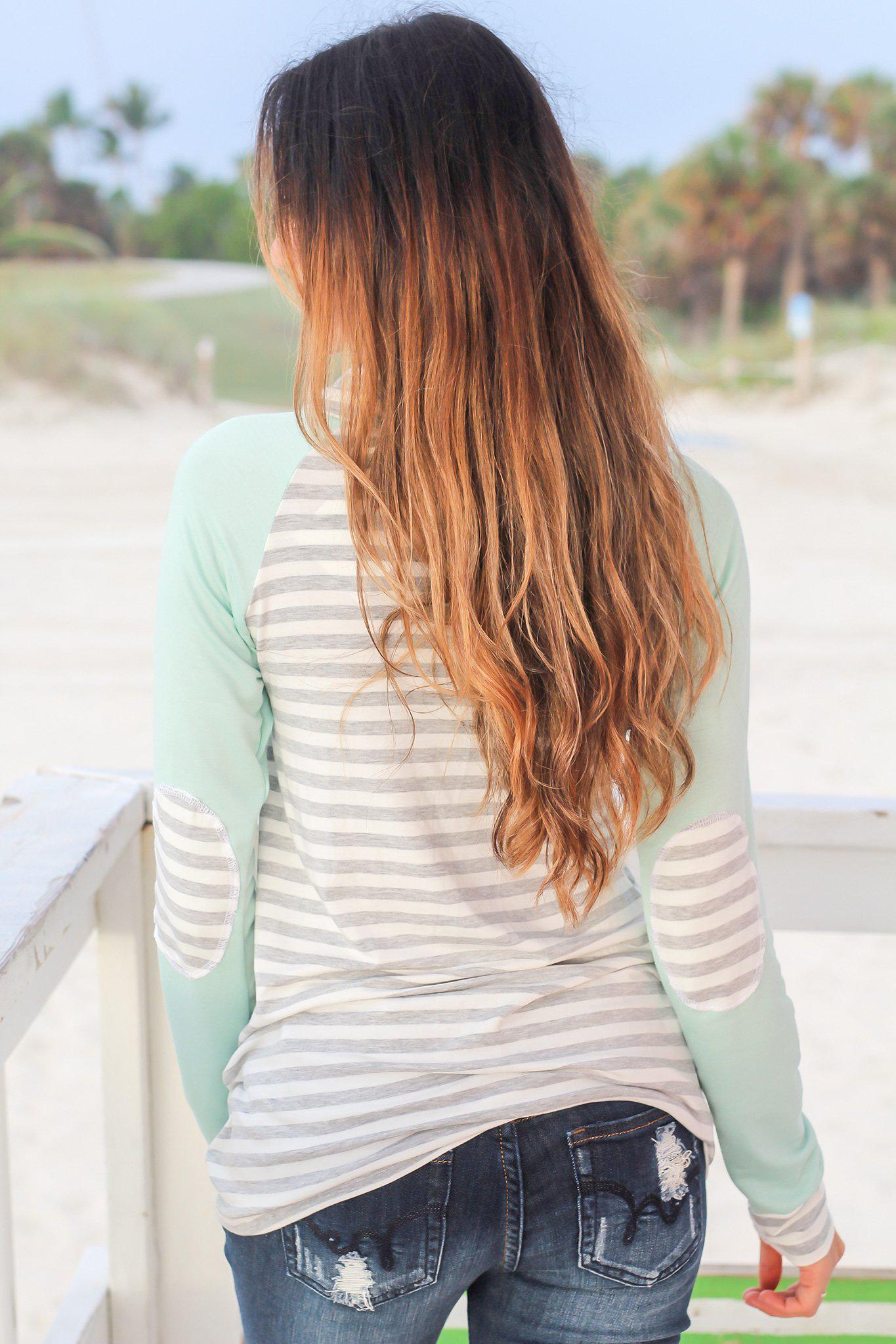 Mint and Gray Striped Sweater