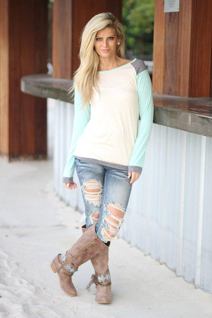 Mint and Ivory Long Sleeve Top
