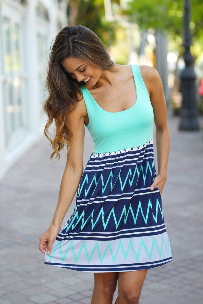 mint and navy short dress with pockets