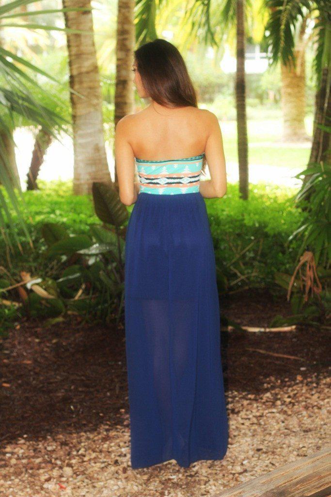 Navy and Mint Maxi Dress