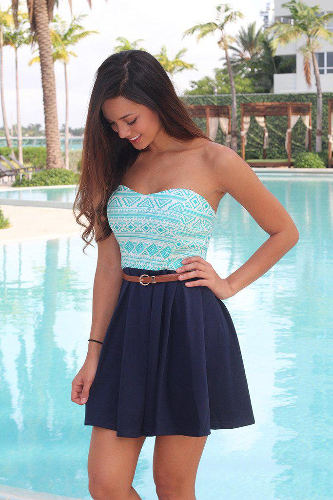 Mint and Navy Short Dress with Belt