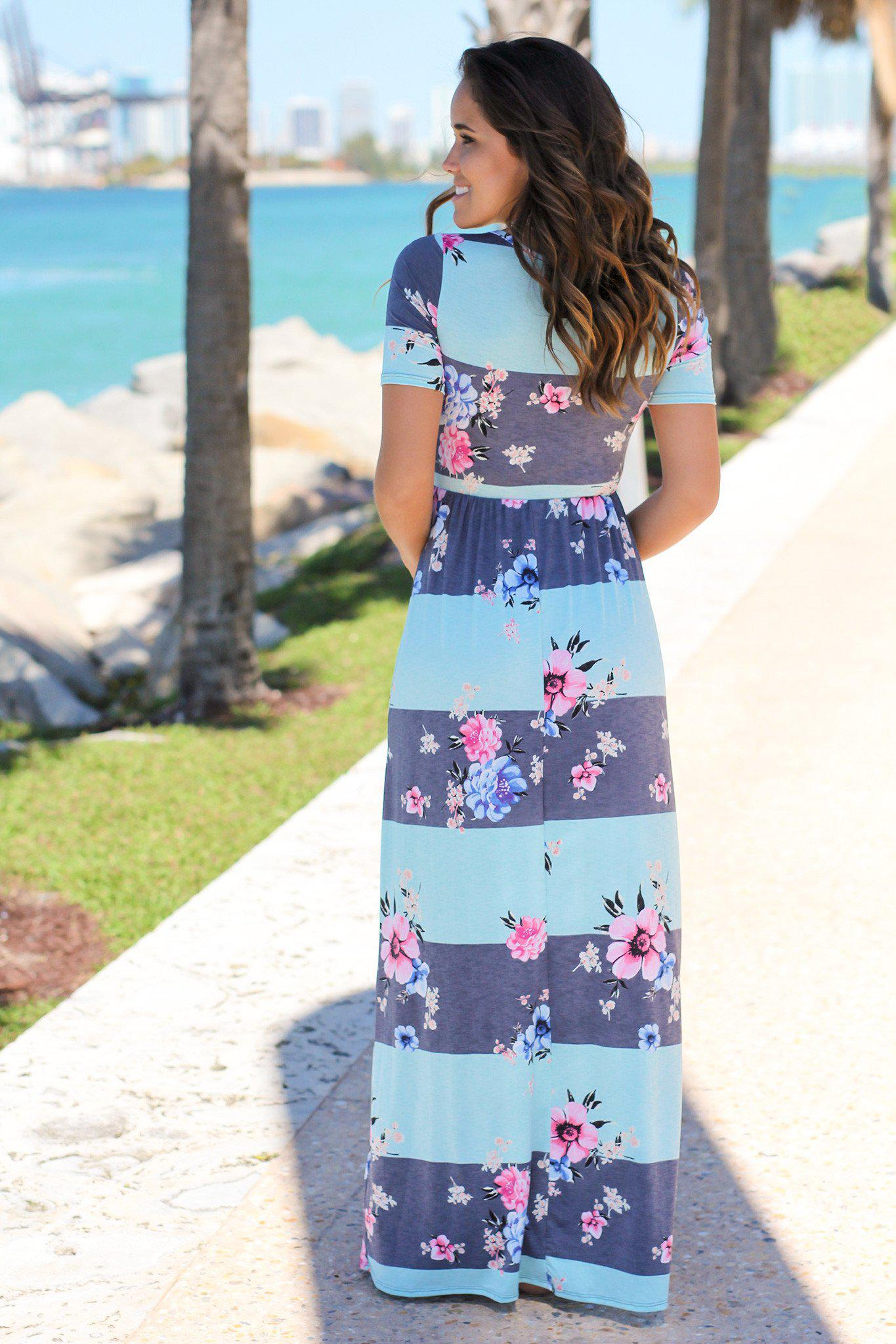 Mint and Navy Striped Floral Maxi Dress