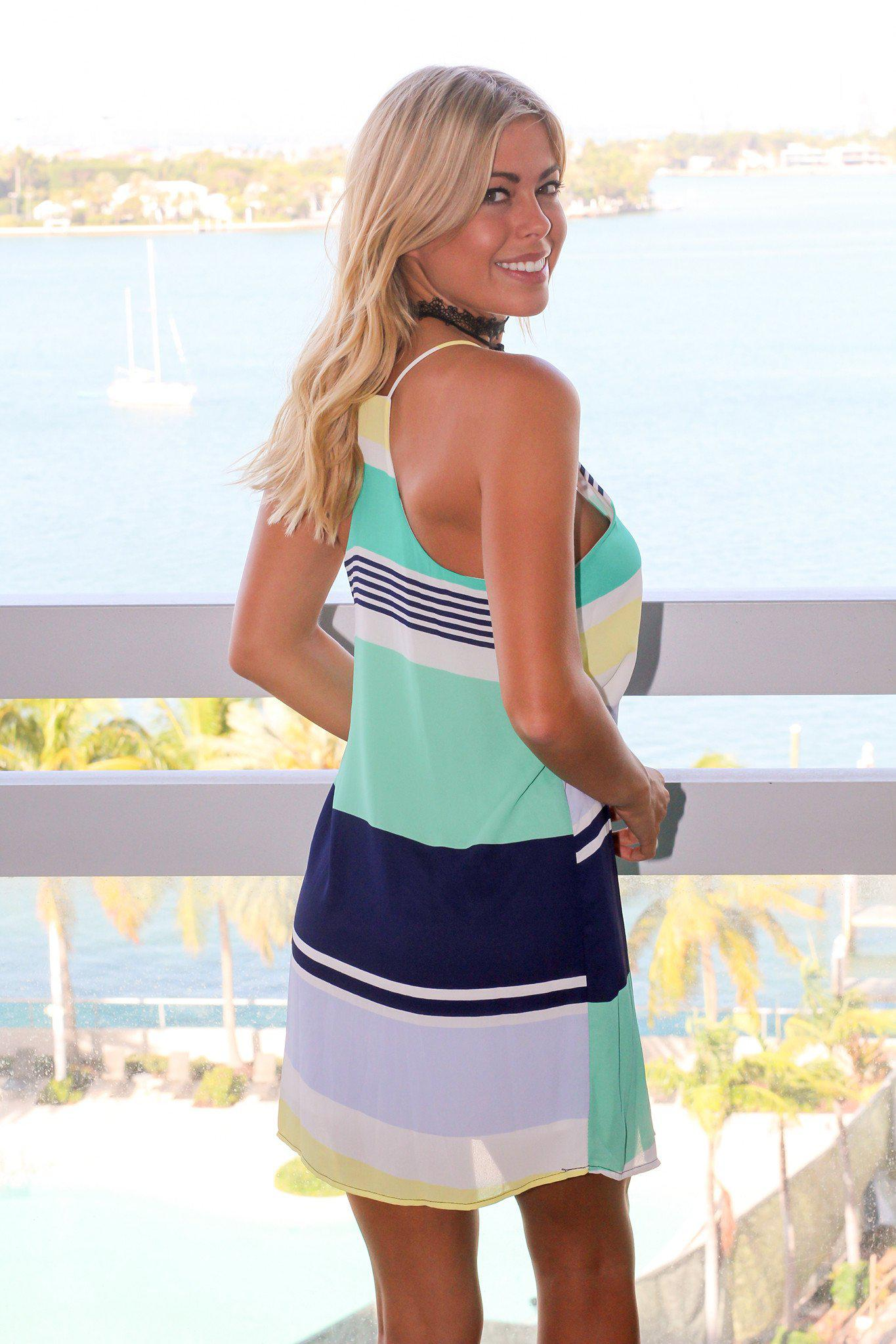 Mint and Navy Striped Tank Short Dress