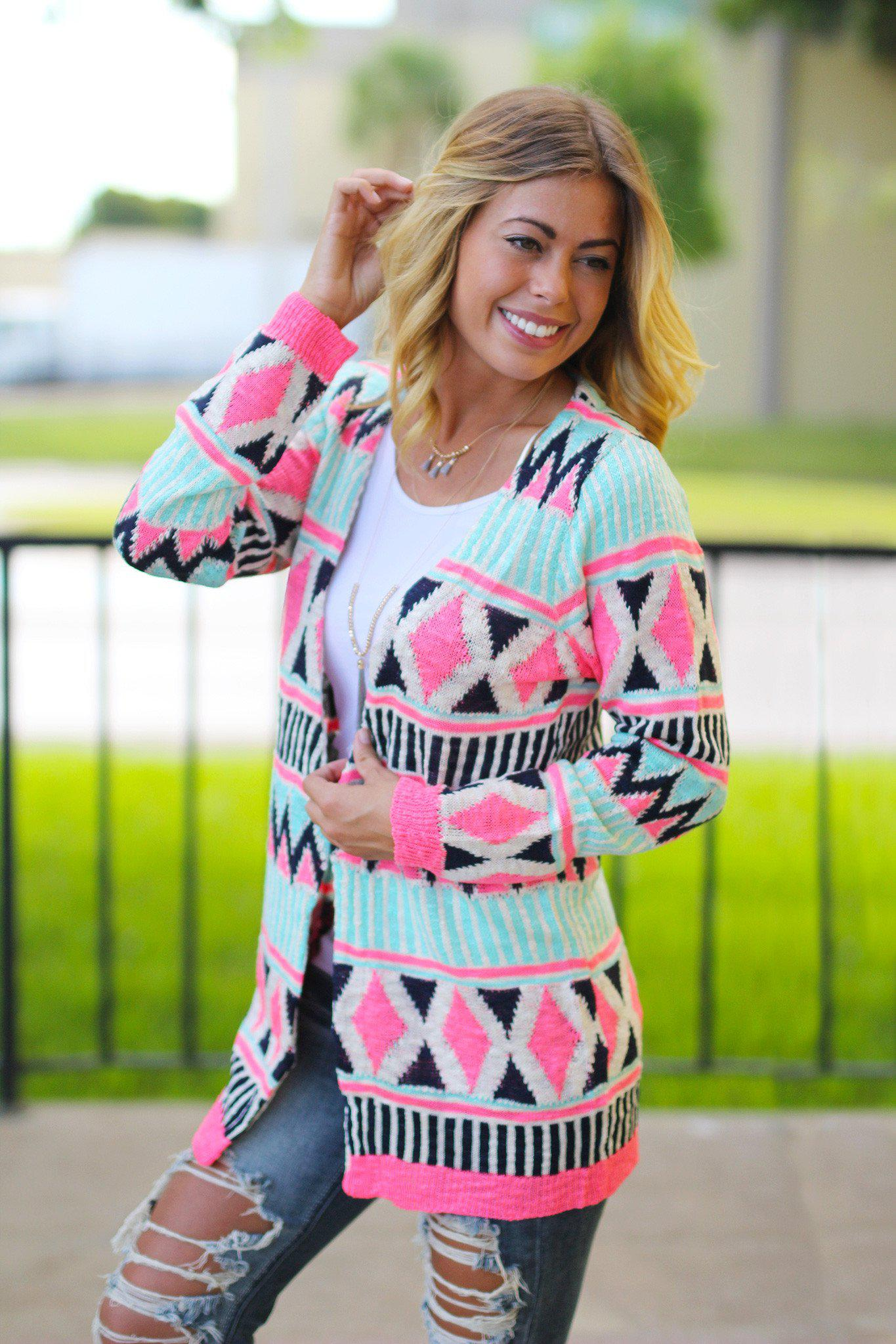Mint and Neon Pink Cardigan