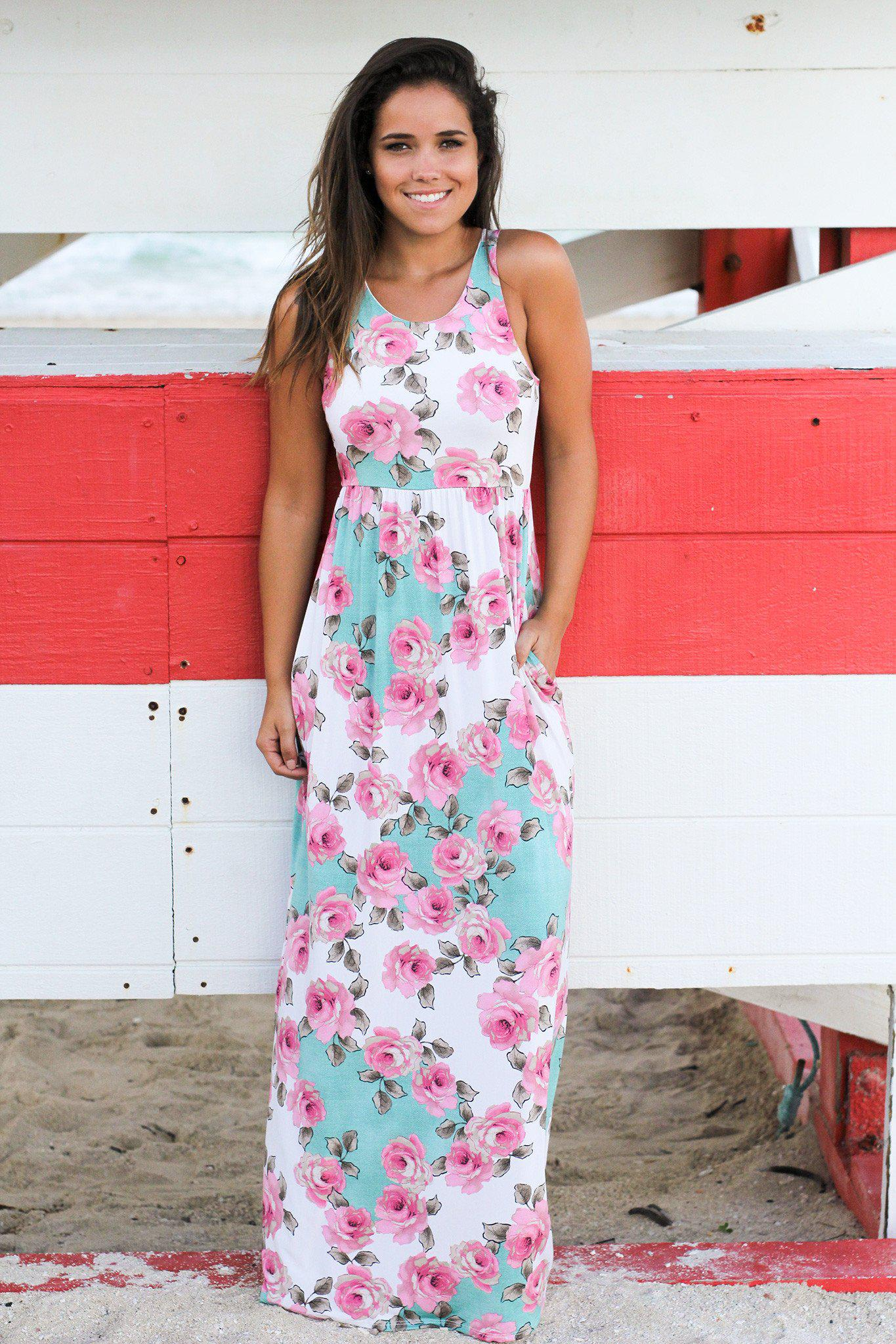 Mint and Pink Floral Maxi Dress