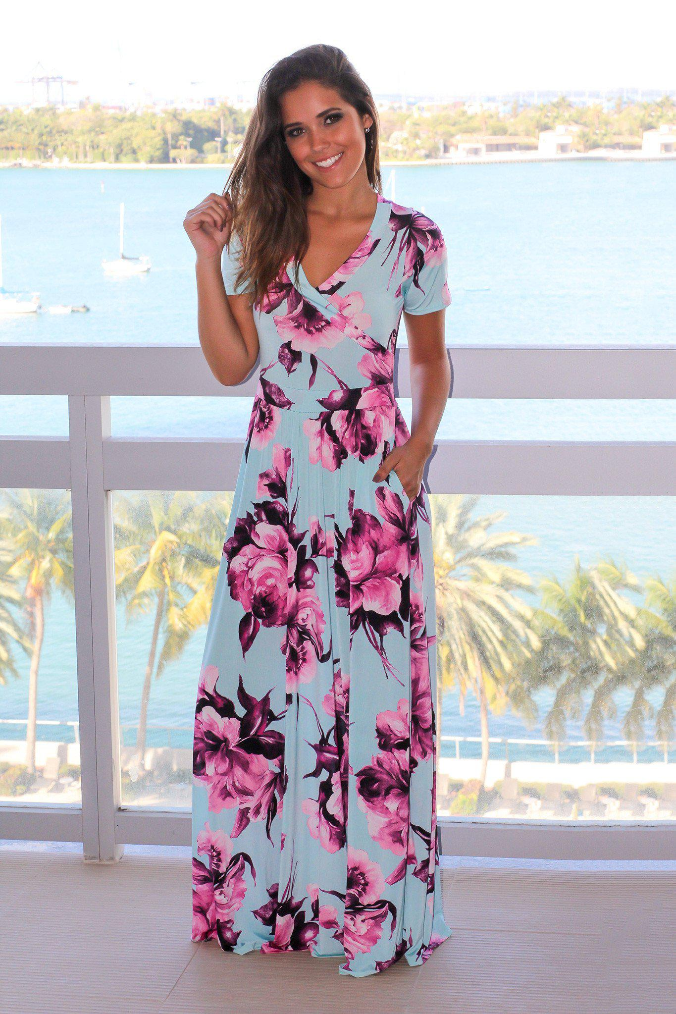 69727f7b5f737 Mint and Purple Floral Maxi Dress | Online Boutiques – Saved by the Dress