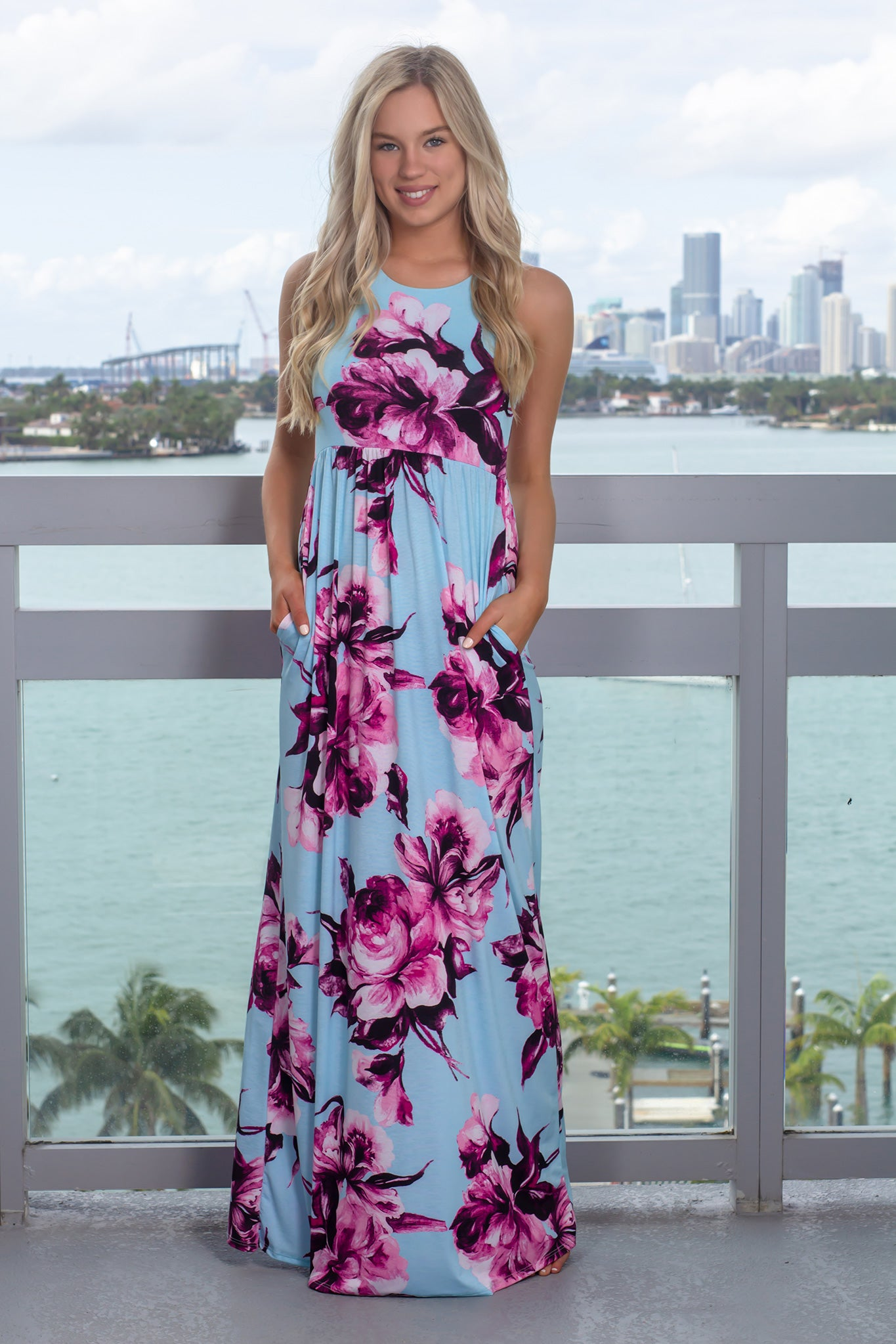 Mint and Purple Floral Racerback Maxi Dress