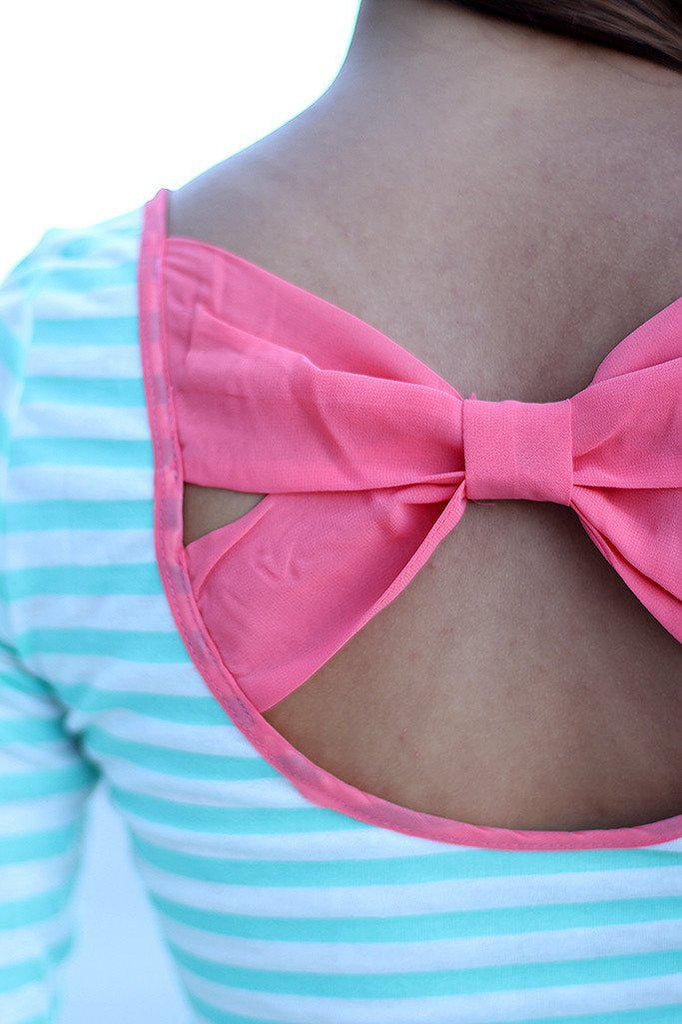 striped cute top with back bow