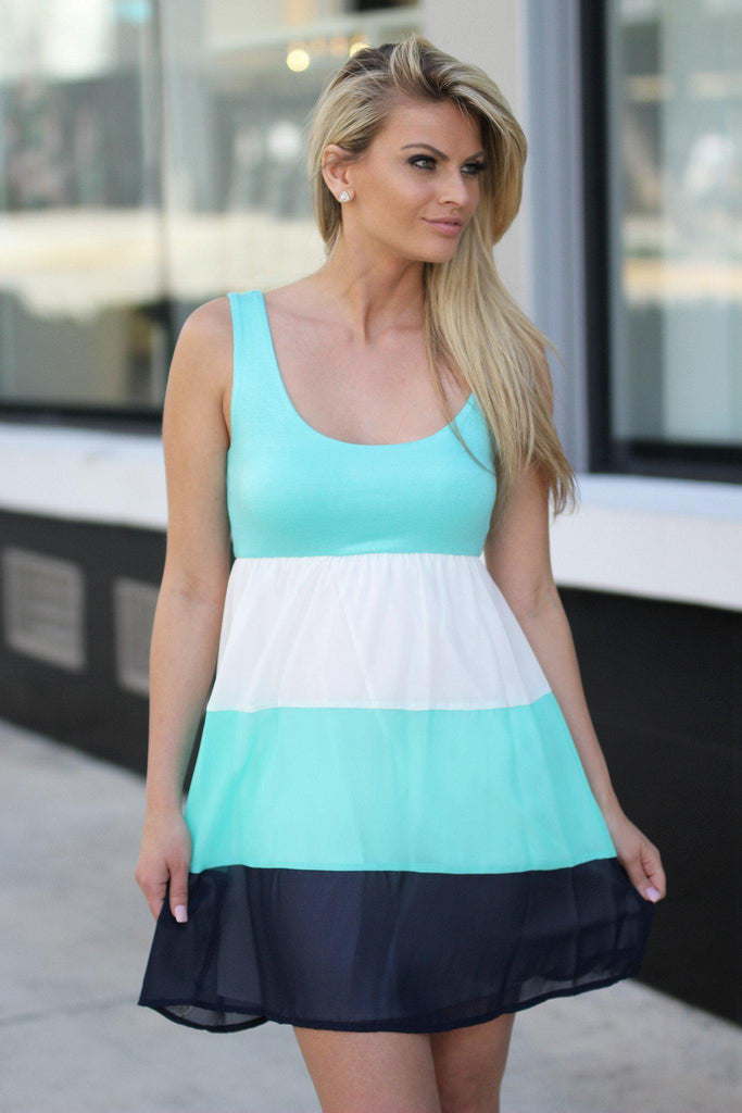 mint color block short dress