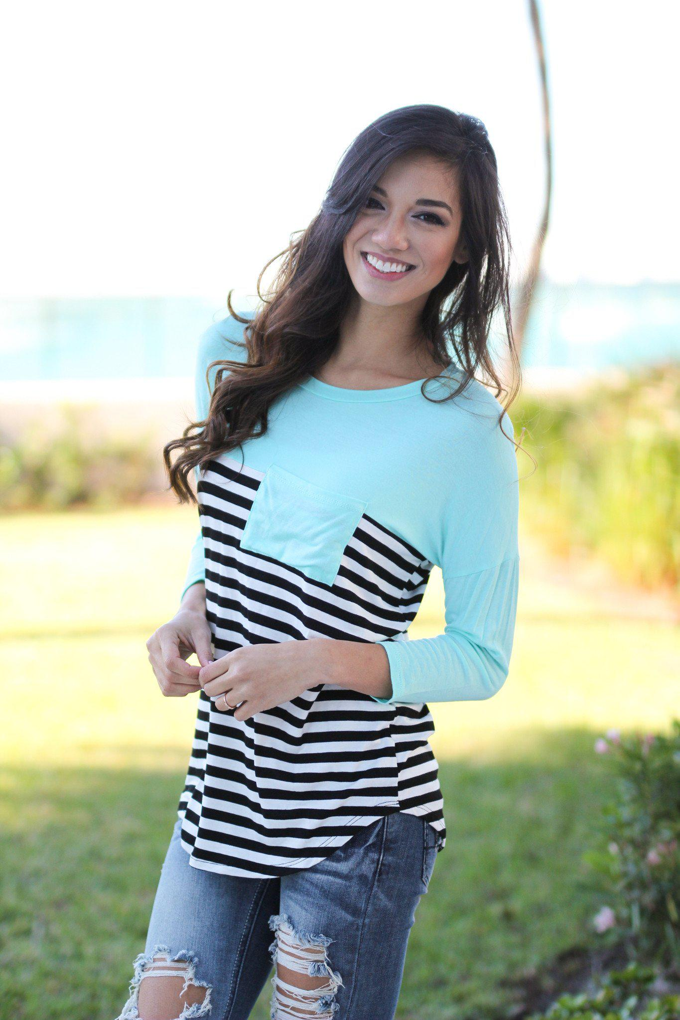 Mint Striped Top With Pocket