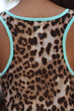 Mint Top With Leopard Back