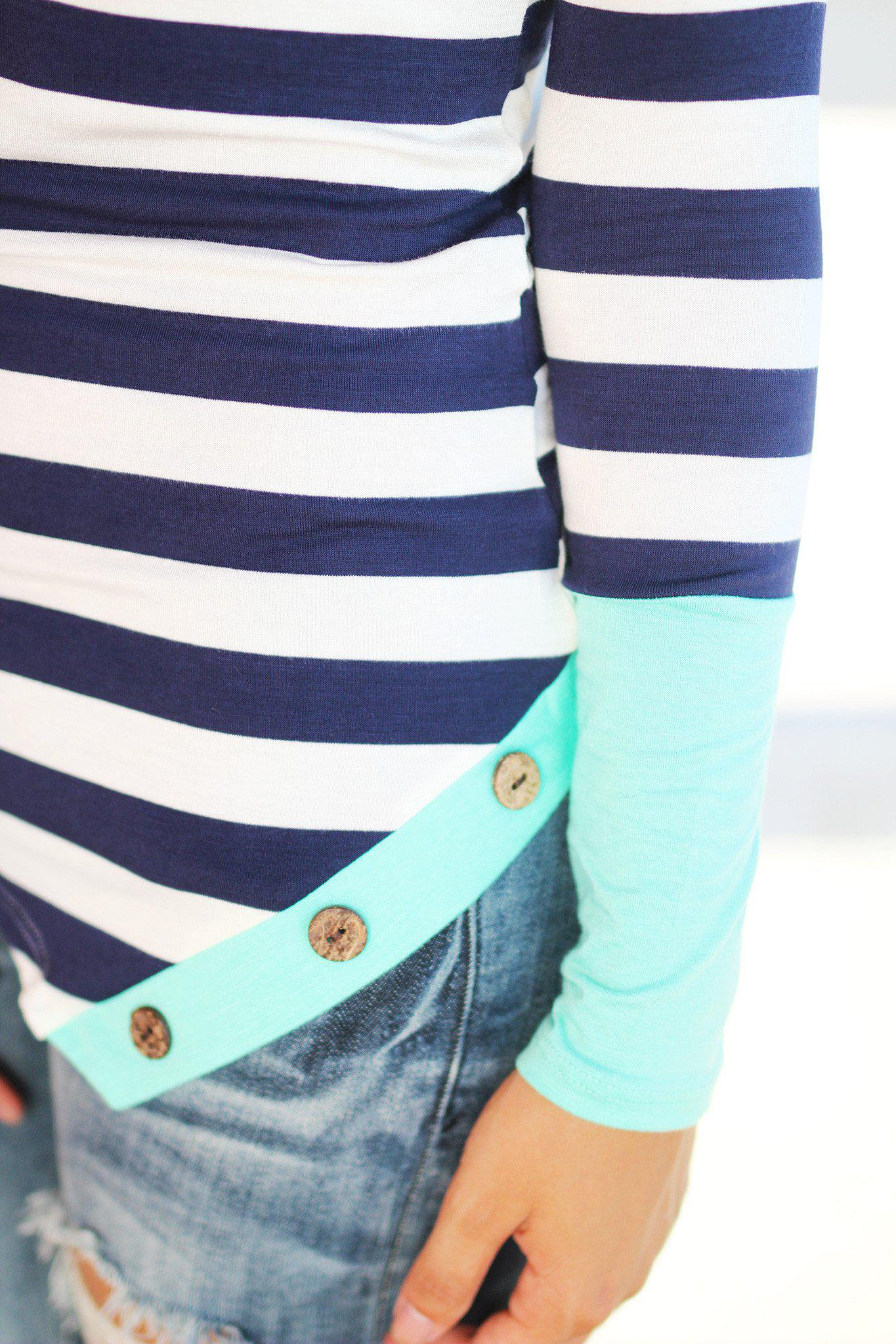 multi color top with button details