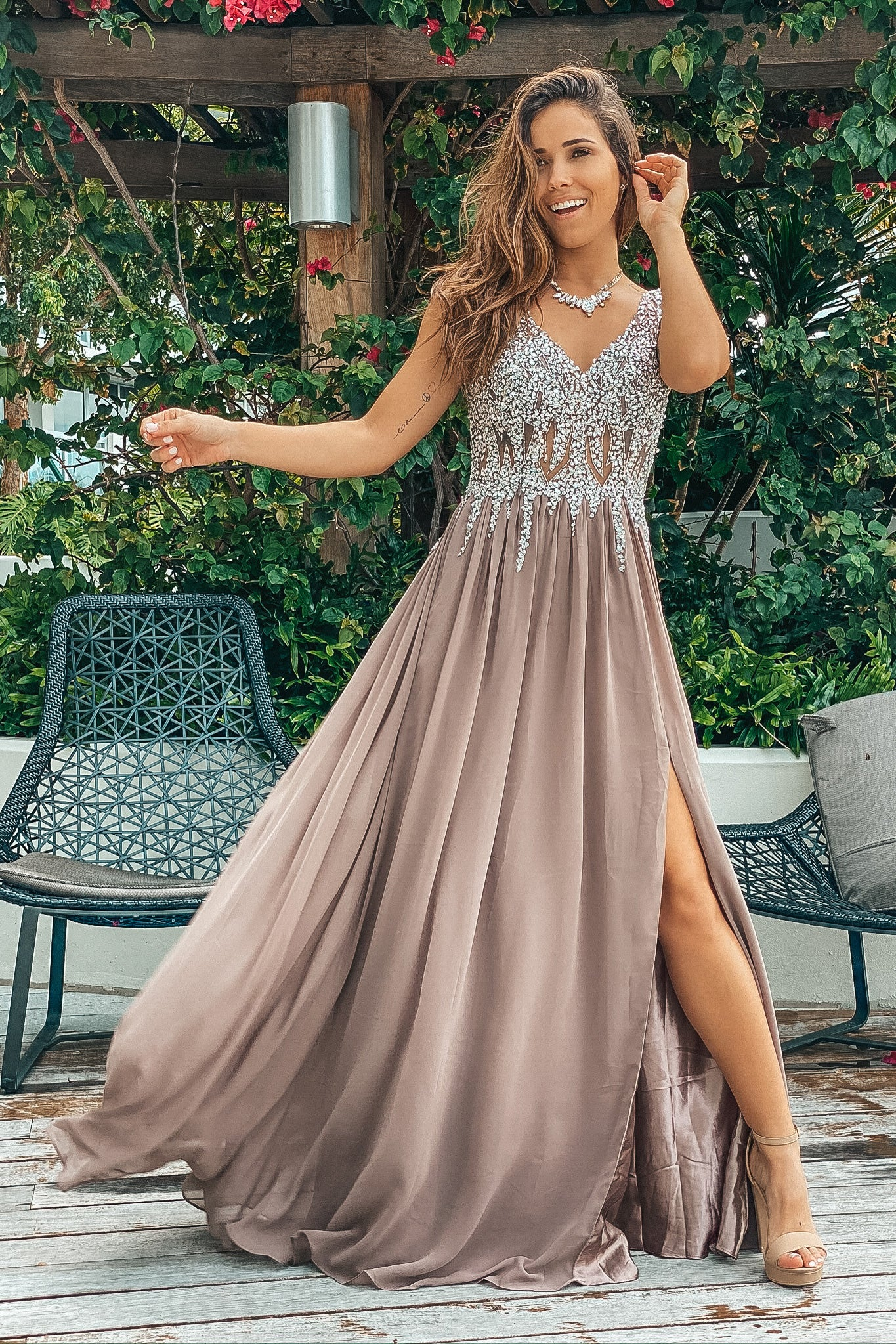 Mocha Jeweled Top Maxi Dress with Side Slit