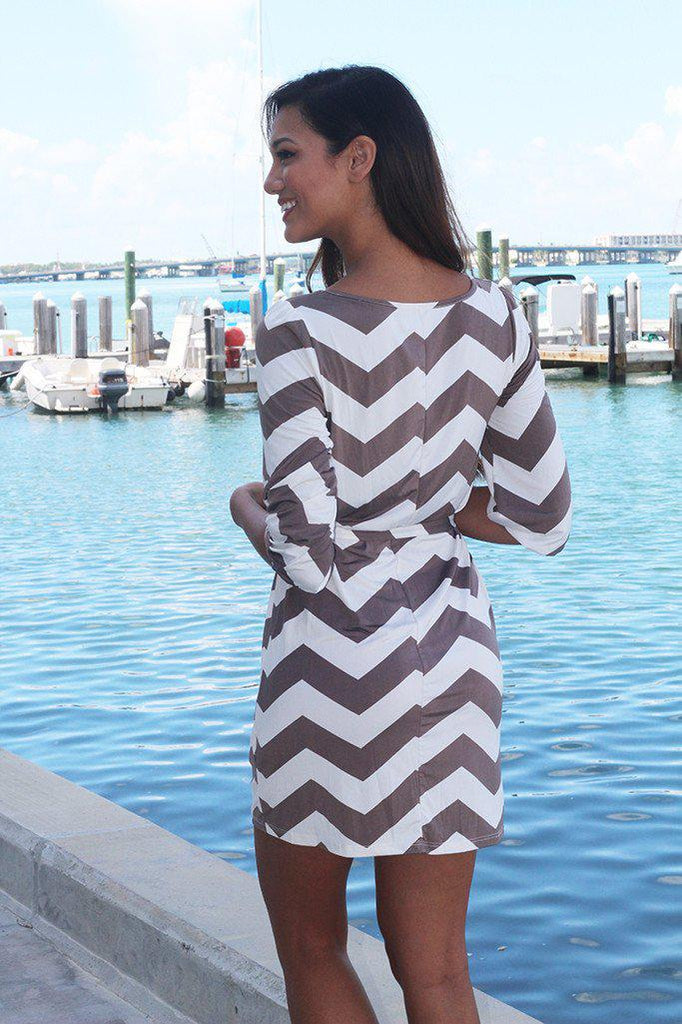 mocha and white chevron dress