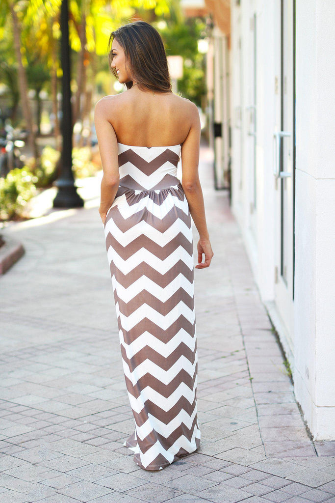 mocha and white long dress