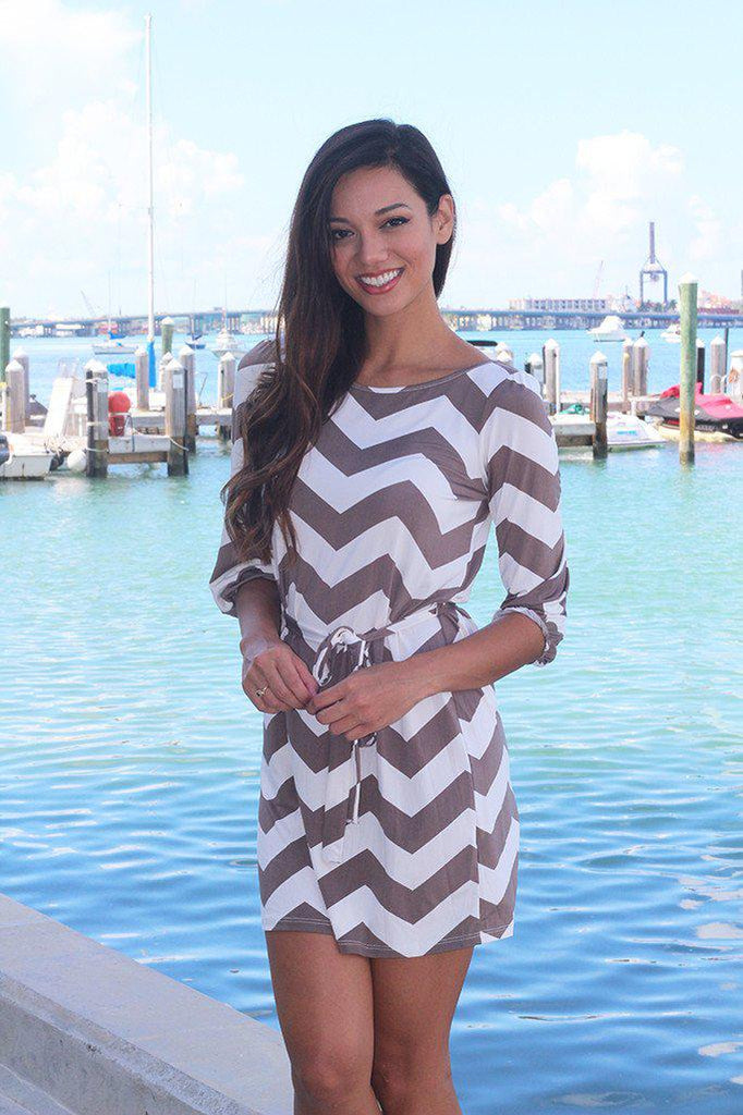 chevron mocha short dress