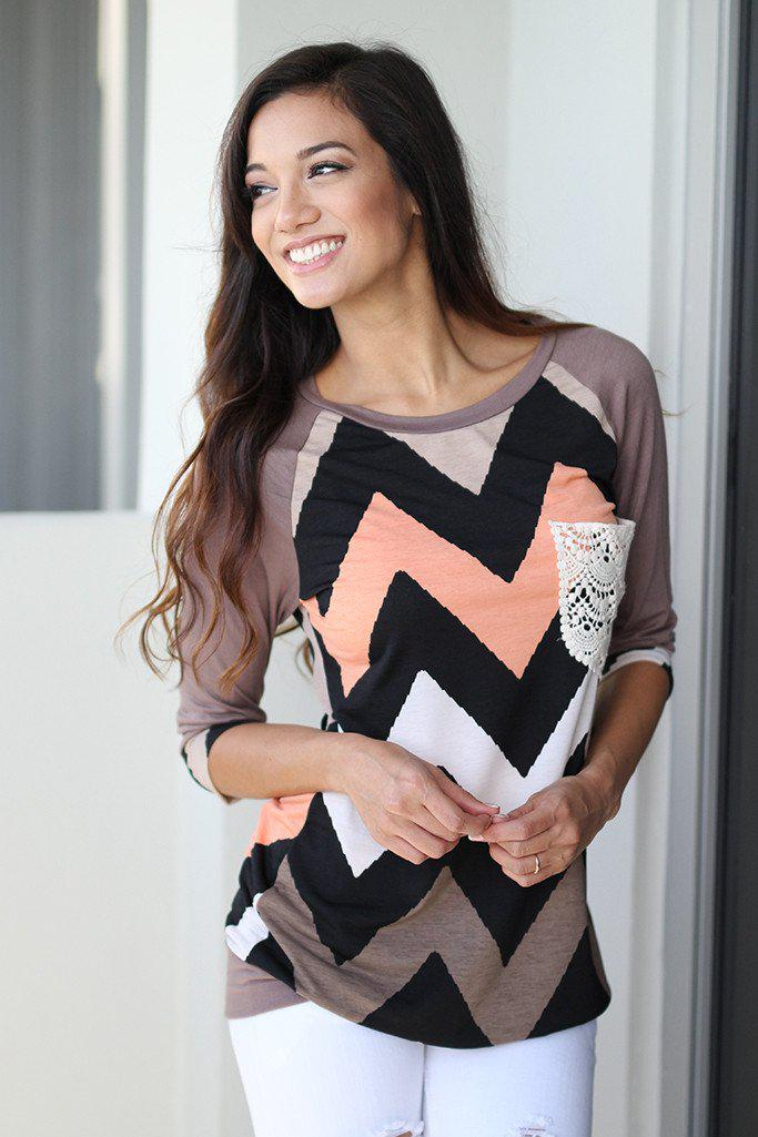 Mocha Chevron Top With Crochet Pocket