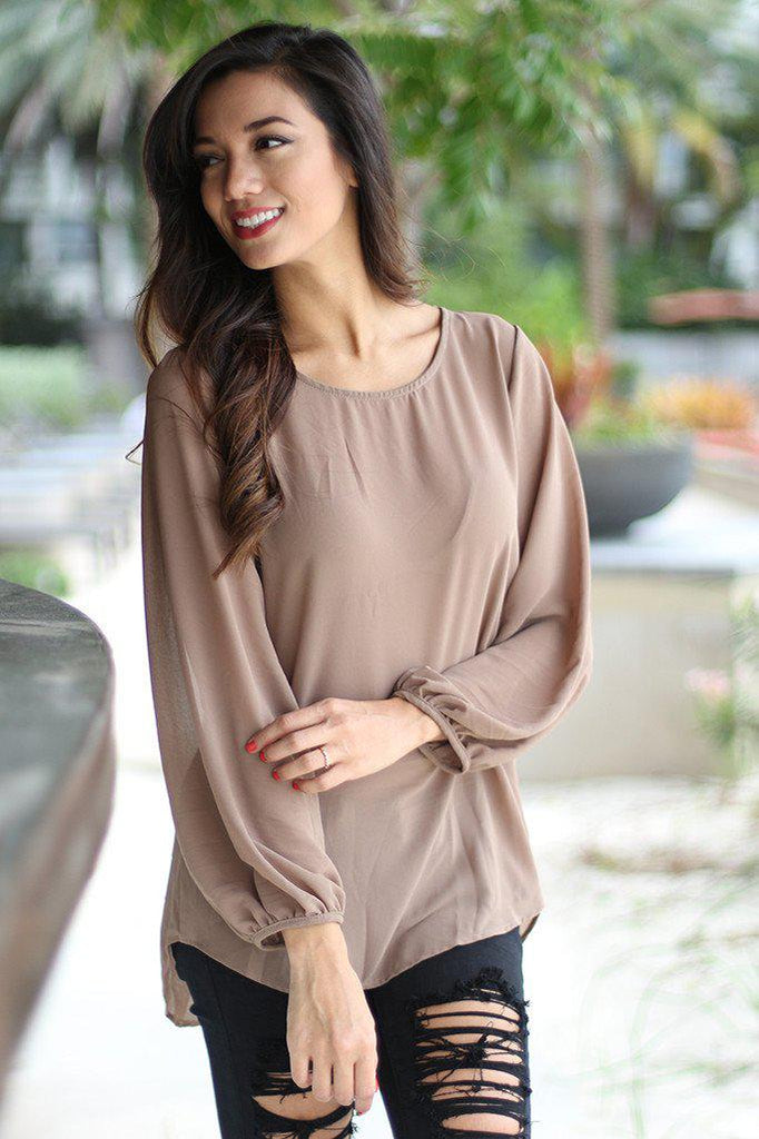 mocha chiffon top with lace back