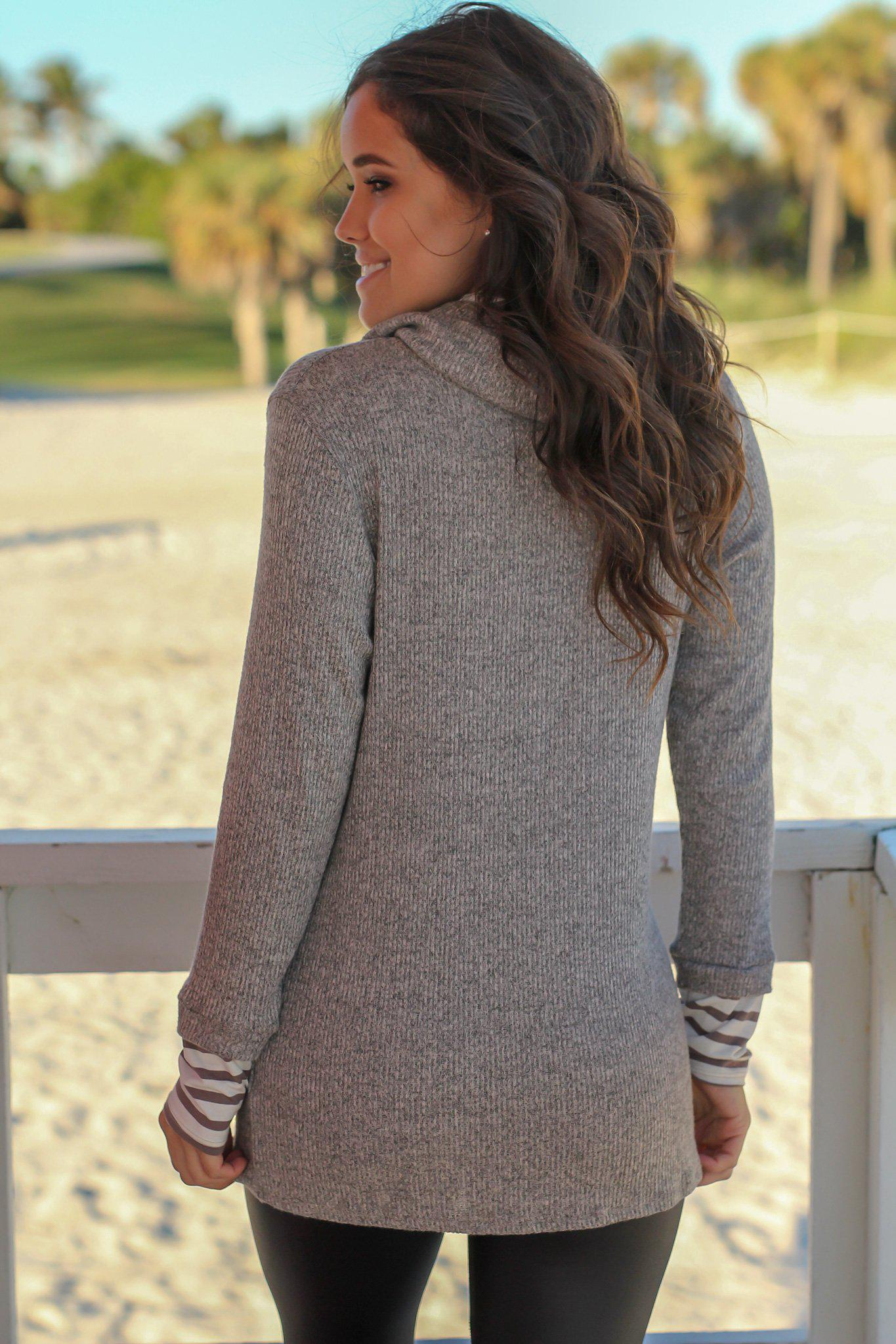 Mocha Cowl Neck Top with Stripes