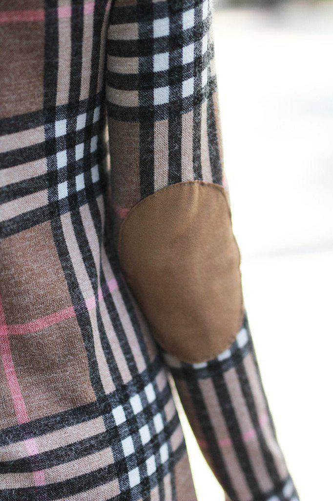 plaid patched elbows dress