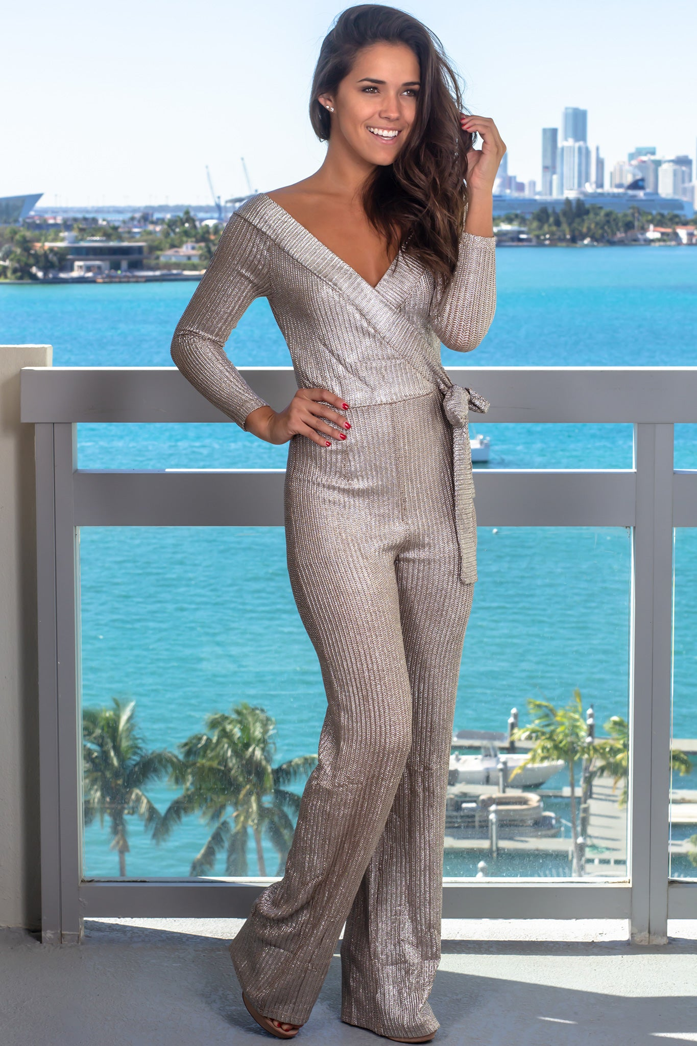be5a07b01ce Metallic Wrap Jumpsuit