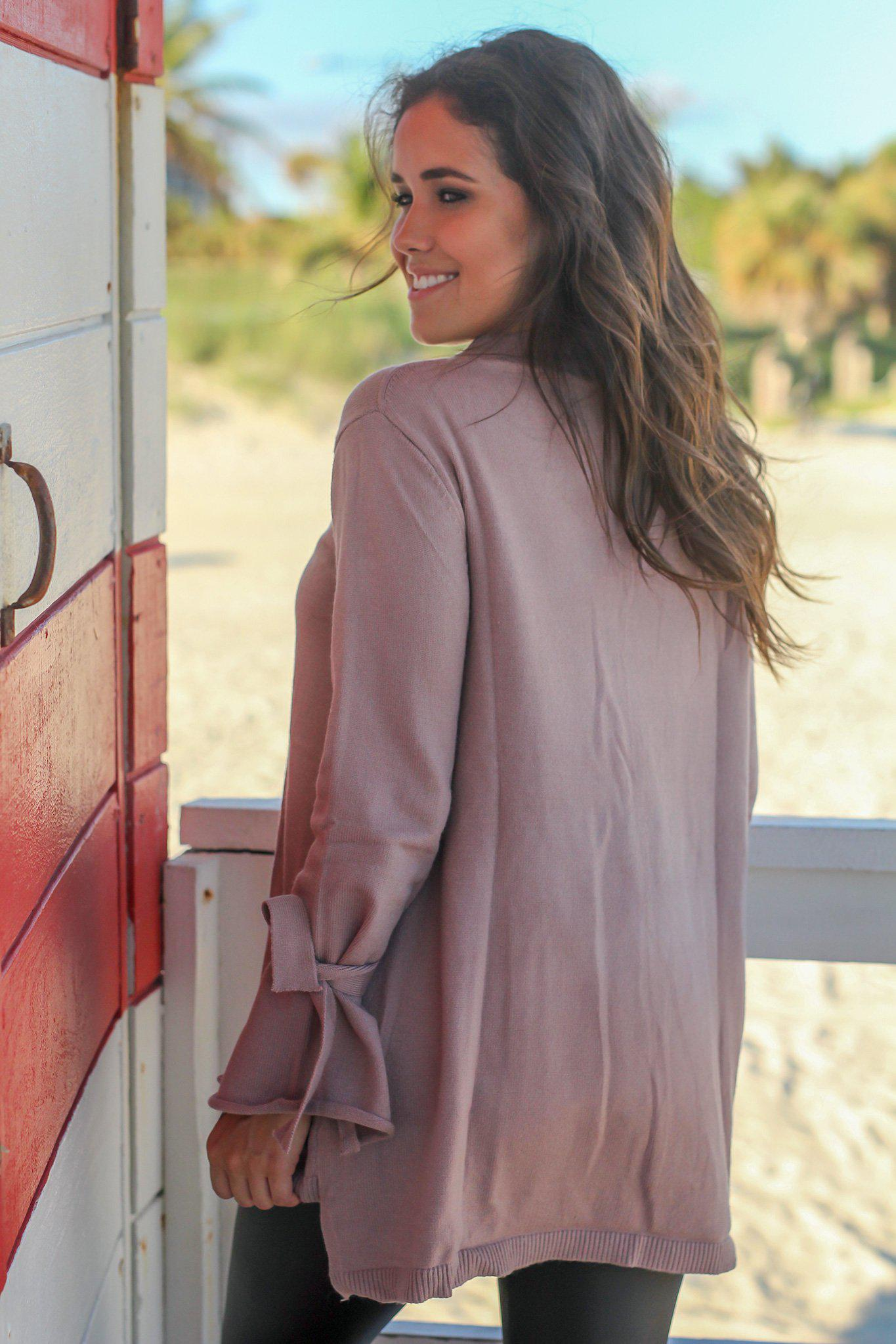 Mocha Knit Sweater with Tie Sleeves