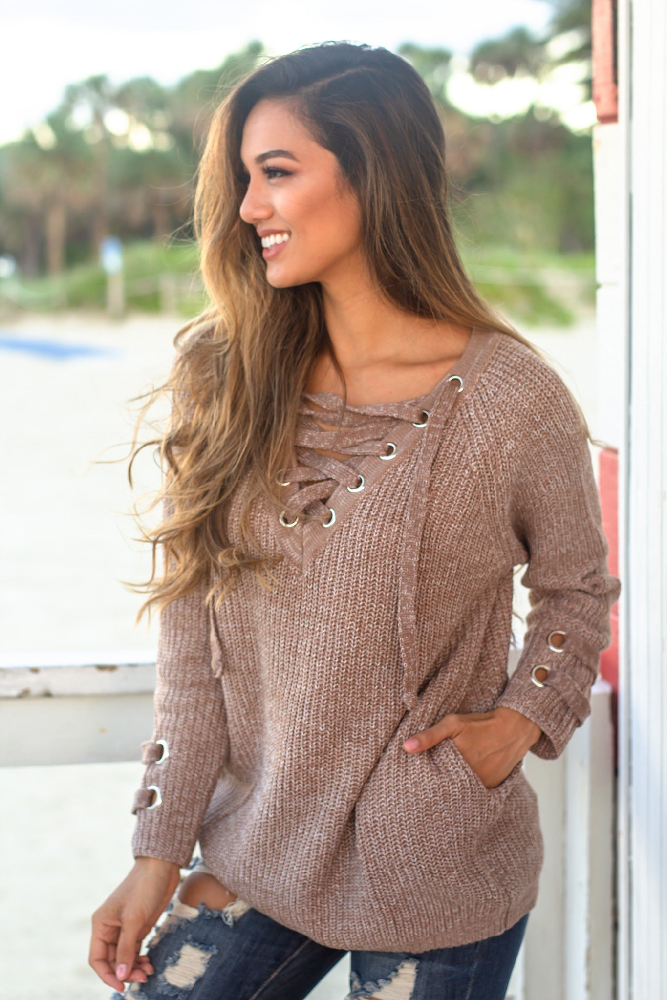 Mocha Lace Up Knit Sweater