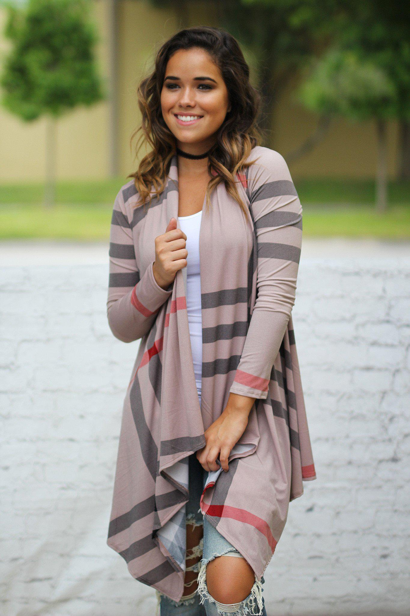 check print asymmetrical cardigan