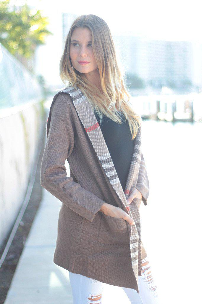 Mocha Oversized Plaid Sweater Jacket