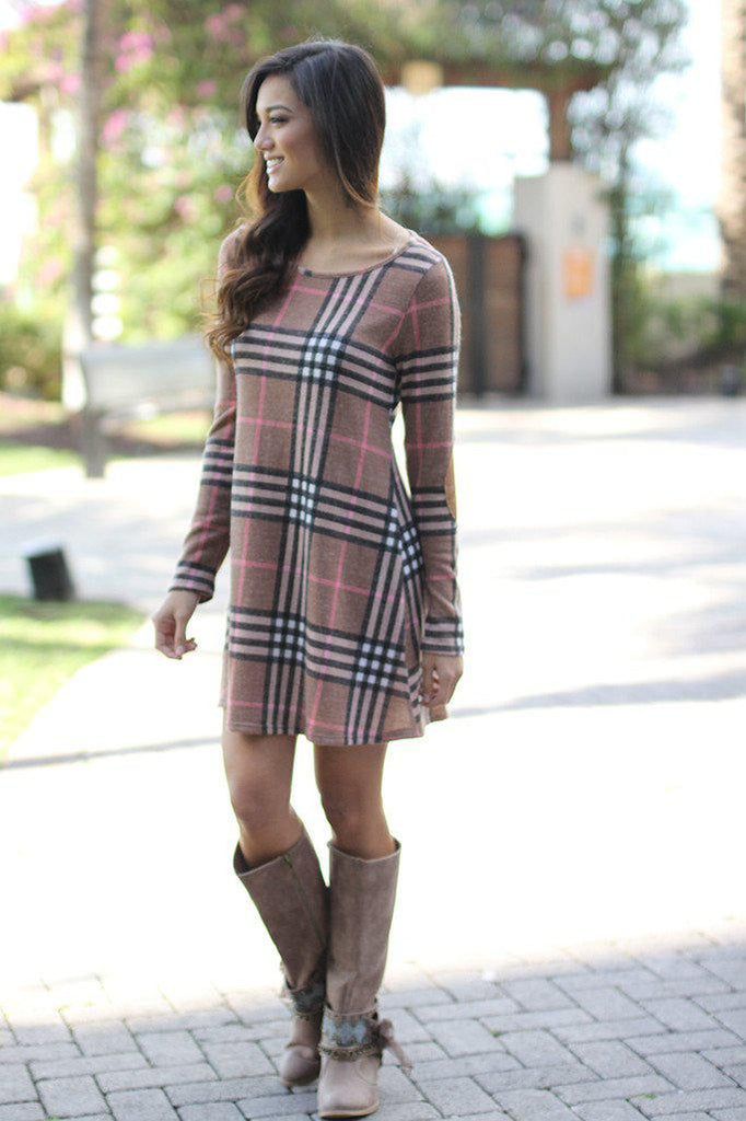 mocha patched dress