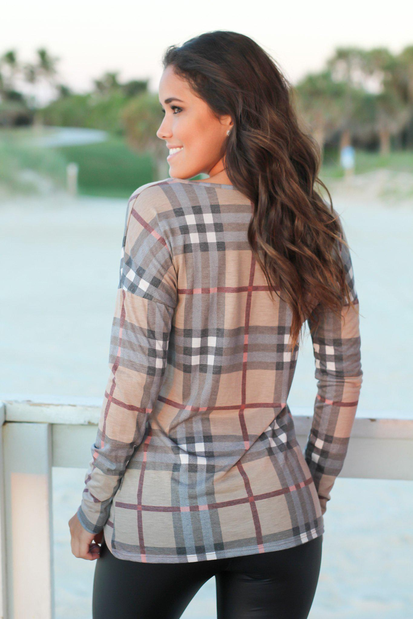 Mocha Plaid Long Sleeve Top with Knot