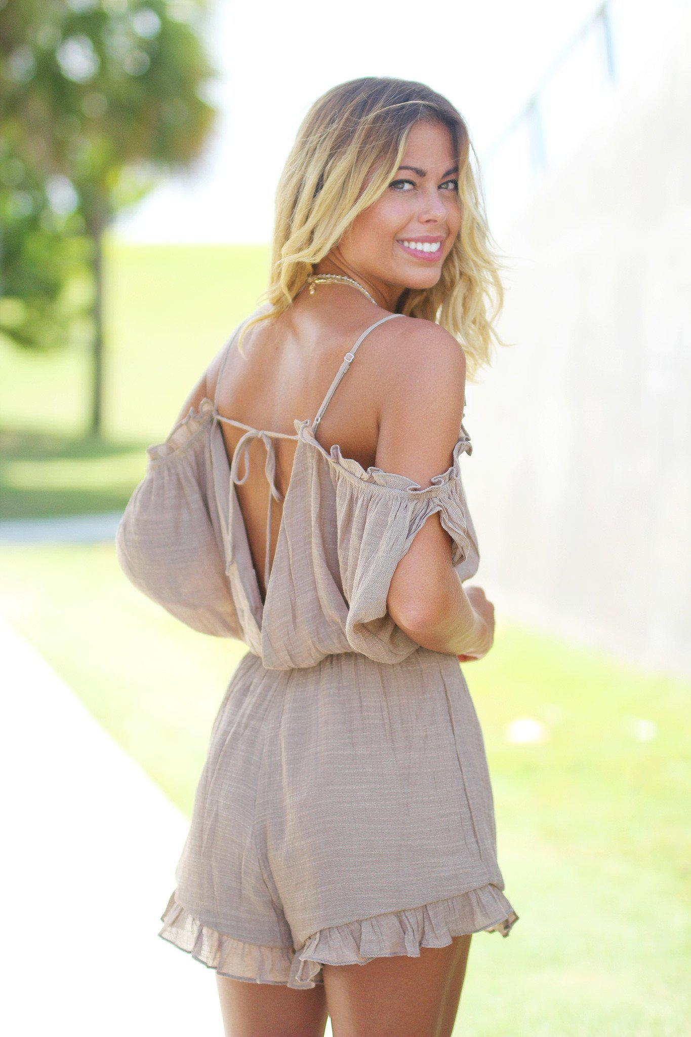 Mocha Open Shoulder Romper