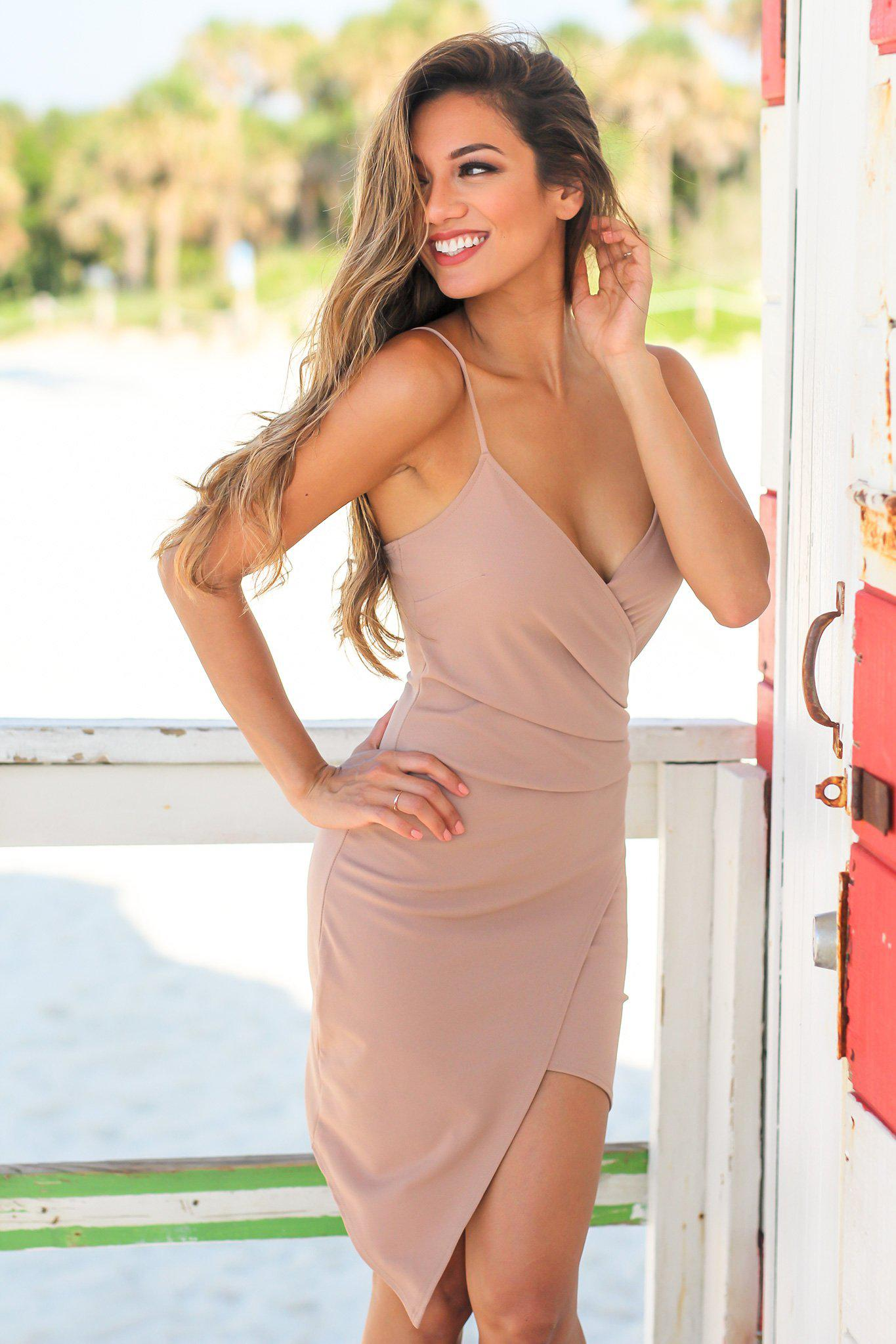 Mocha Short Dress with Ruched Side