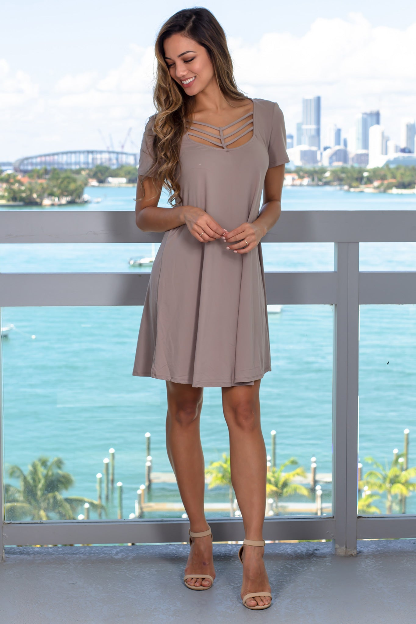 Mocha Short Sleeve Strappy Short Dress