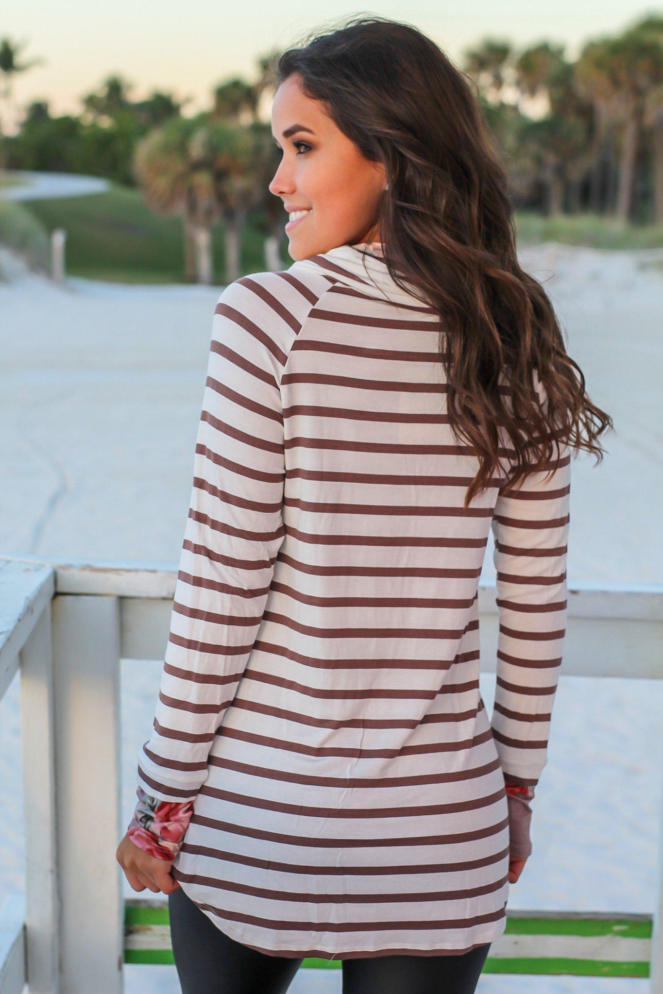 Mocha Striped Top with Floral Cowl Neck