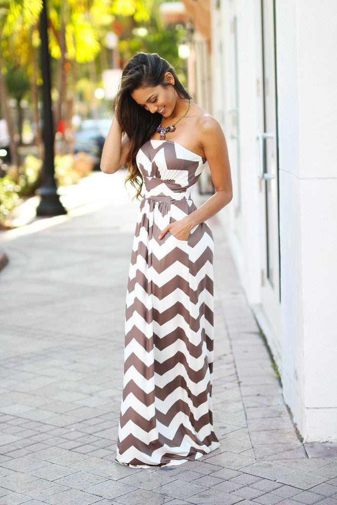 mocha and white chevron maxi dress with pockets