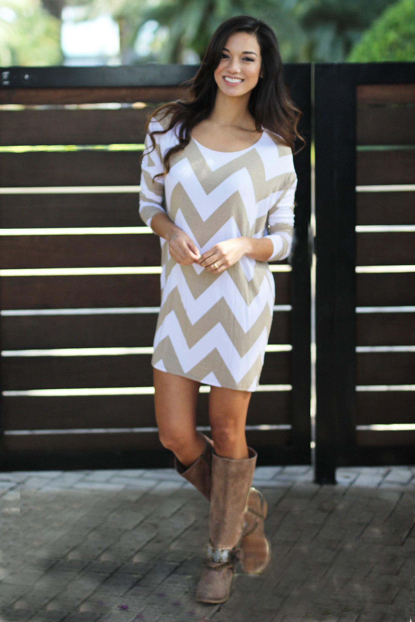 Mocha Chevron Short Dress