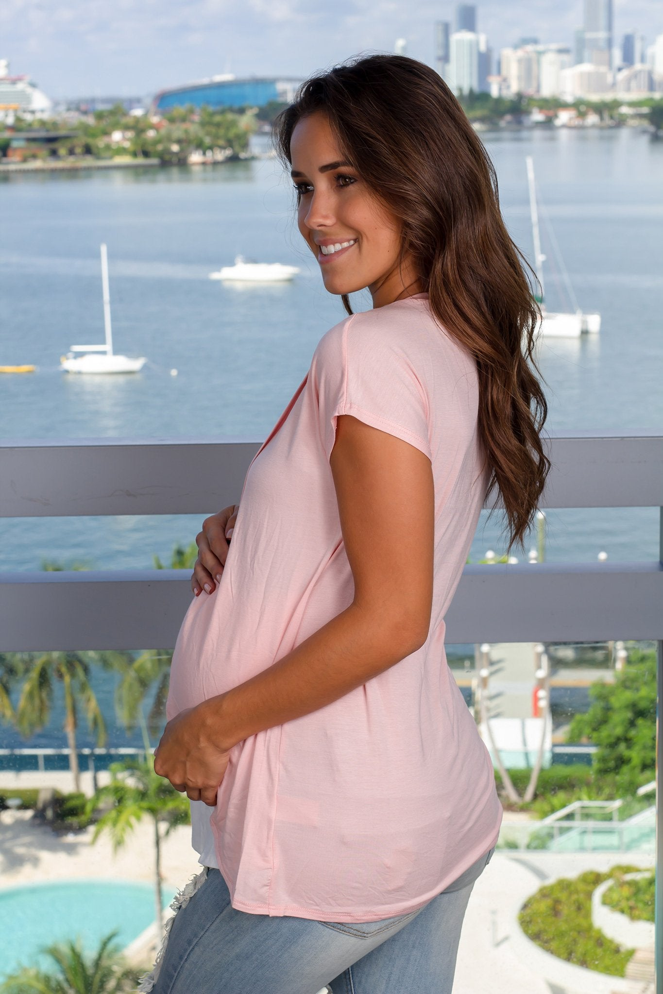 Pink Short Sleeve Maternity Top