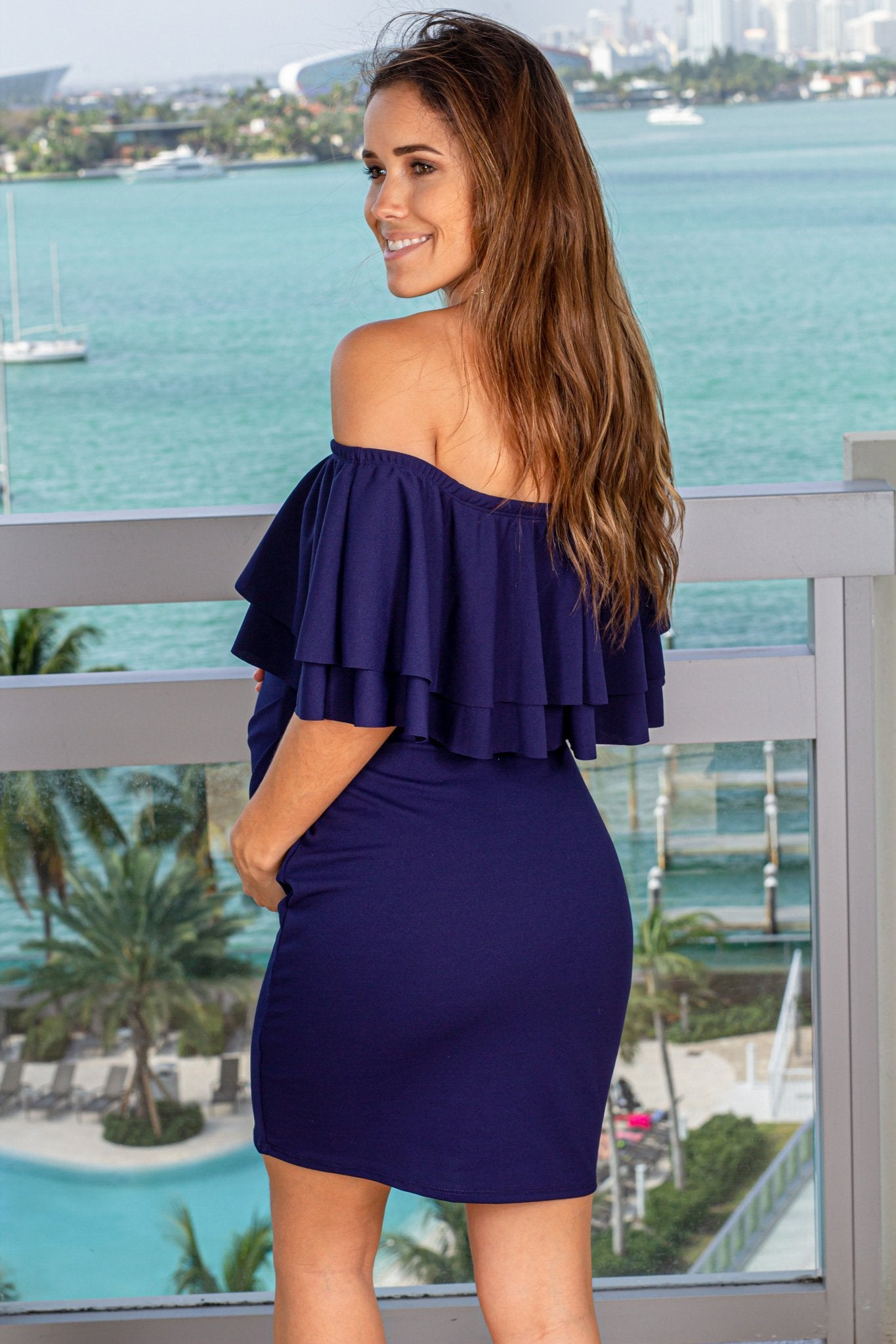 Navy Short Dress with Ruffles